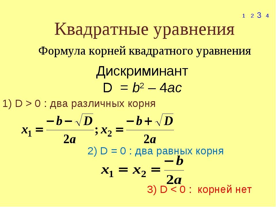 Квадратные уравнения 1 2 3 4 Формула корней квадратного уравнения Дискриминан...