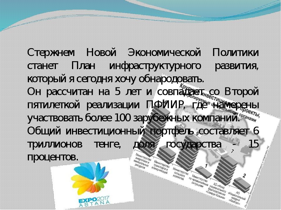 Стержнем Новой Экономической Политики станет План инфраструктурного развития,...