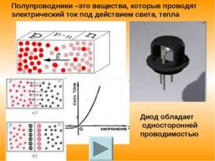 Полупроводники –это вещества, которые проводят электрический ток под действие