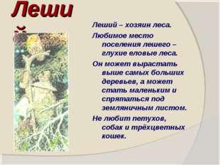 Леший Леший – хозяин леса. Любимое место поселения лешего – глухие еловые лес