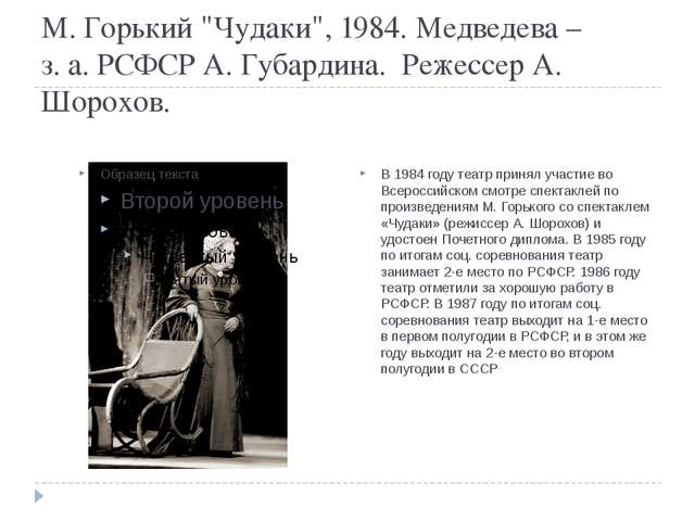 "М. Горький ""Чудаки"", 1984. Медведева – з. а. РСФСР А. Губардина. Режессер А...."
