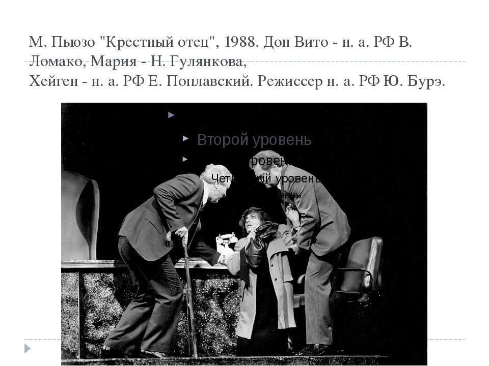 "М. Пьюзо ""Крестный отец"", 1988. Дон Вито - н. а. РФ В. Ломако, Мария - Н. Гул..."