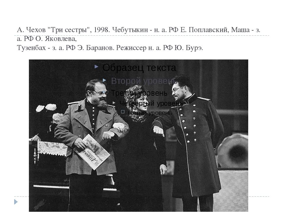 "А. Чехов ""Три сестры"", 1998. Чебутыкин - н. а. РФ Е. Поплавский, Маша - з. а...."