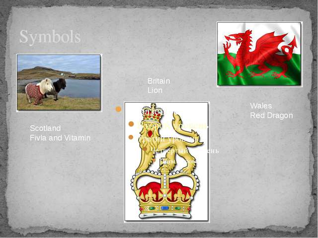 Symbols Scotland Fivla and Vitamin Wales Red Dragon Britain Lion
