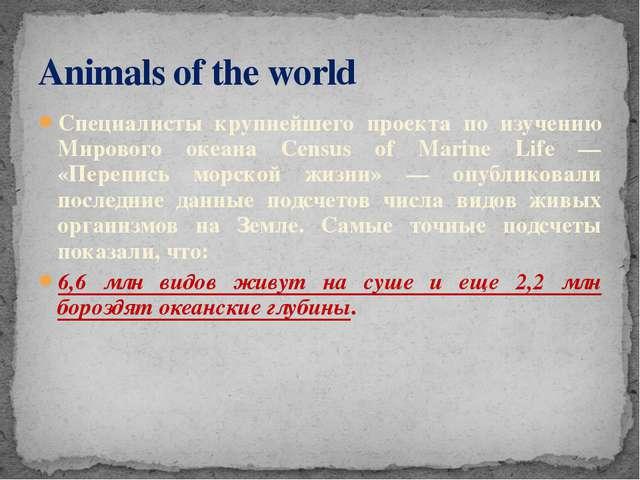 Специалисты крупнейшего проекта по изучению Мирового океана Census of Marine...