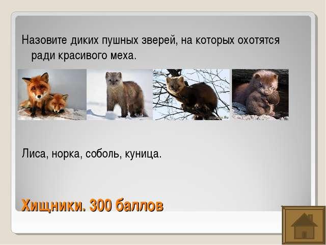 Хищники. 300 баллов Назовите диких пушных зверей, на которых охотятся ради кр...