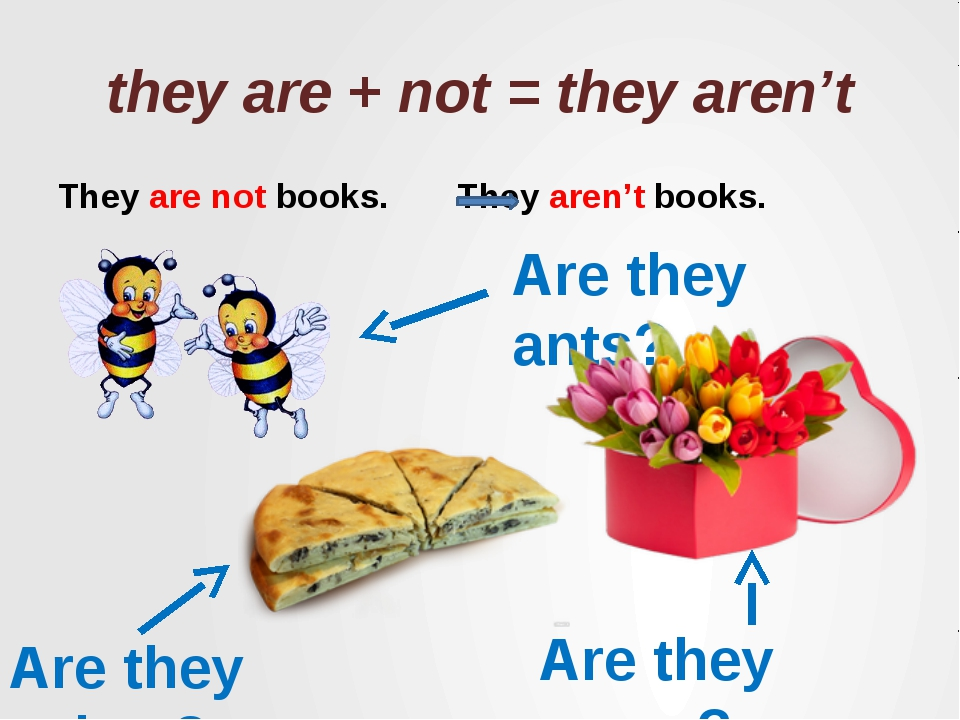 they are + not = they aren't They are not books. They aren't books. Are they...