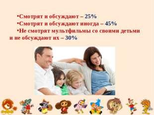 Смотрят и обсуждают – 25% Смотрят и обсуждают иногда – 45% Не смотрят мультфи