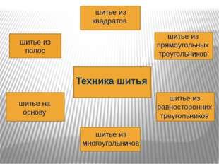 шитье из полос шитье из прямоугольных треугольников шитье из равносторонних