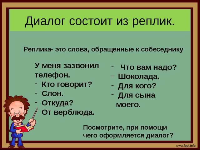 Диалог состоит из реплик. Реплика- это слова, обращенные к собеседнику У меня...