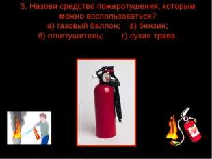 3. Назови средство пожаротушения, которым можно воспользоваться? а) газовый б