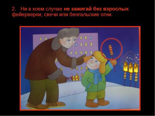 2. Ни в коем случае не зажигай без взрослых фейерверки, свечи или бенгальские...