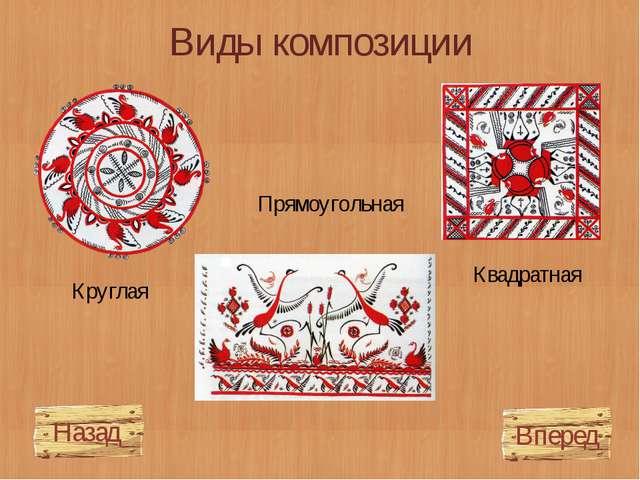 Виды композиции Прямоугольная Квадратная Круглая Вперед Назад
