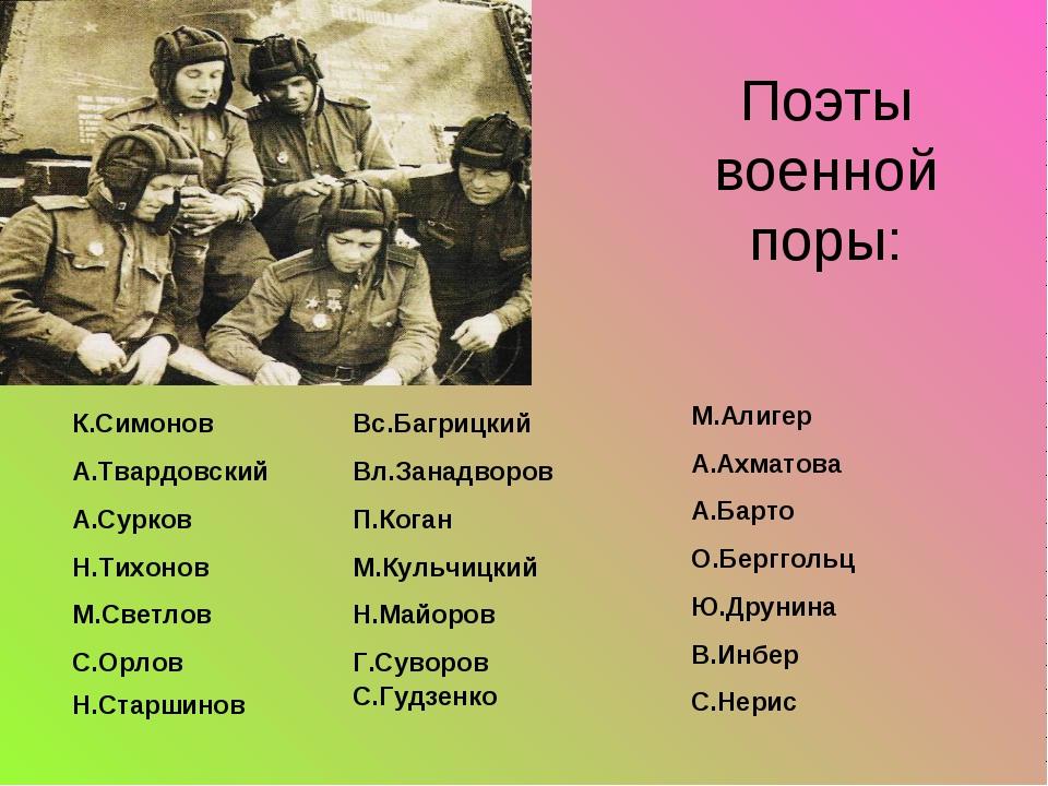Поэты военной поры: К.Симонов А.Твардовский А.Сурков Н.Тихонов М.Светлов С.О...