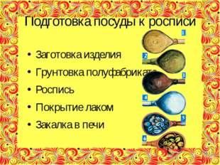 Подготовка посуды к росписи Заготовка изделия Грунтовка полуфабриката Роспись