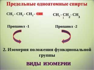 СН3 - СН2 - СН2 - ОН СН3 - СН - СН 2 3 ОН Пропанол -1 Пропанол -2 2. Изомерия