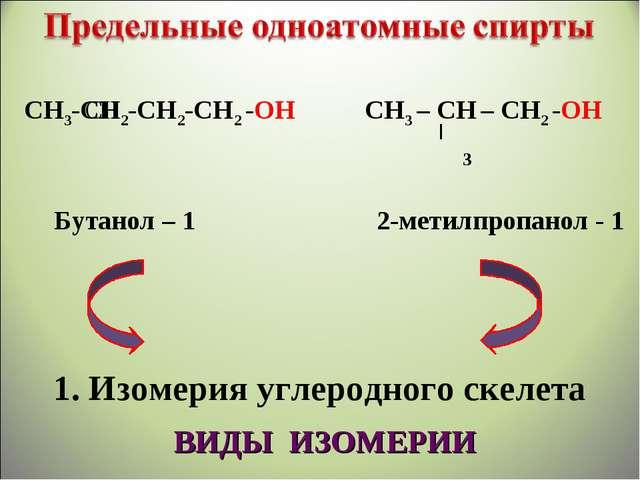 СН3-СН2-СН2-СН2 -ОН СН3 – СН – СН2 -ОН Бутанол – 1 2-метилпропанол - 1 1. Изо...