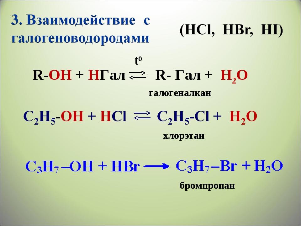 R-ОН + HГал R- Гал + H2О галогеналкан хлорэтан бромпропан t0
