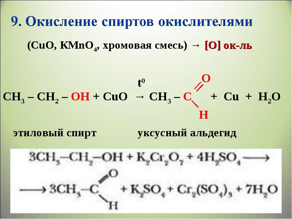 CH3 – CH2 – OH + CuO → CH3 – C + Cu + H2O t0 O H уксусный альдегид этиловый с...