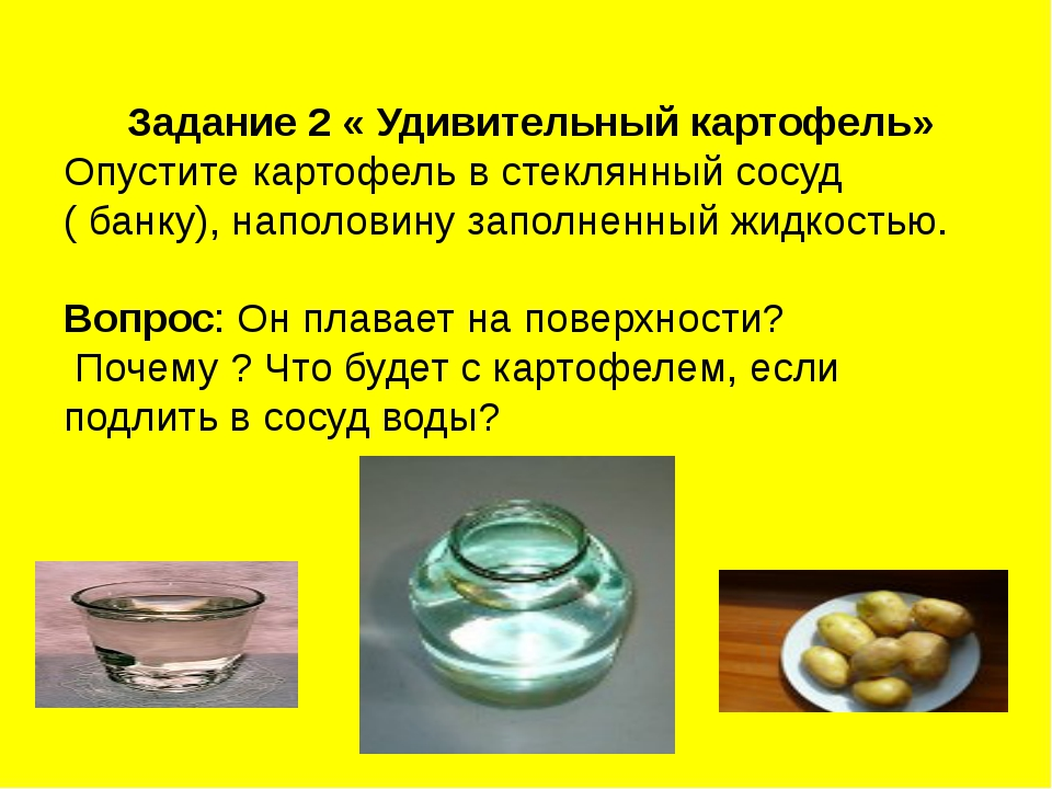 Задание 2 « Удивительный картофель» Опустите картофель в стеклянный сосуд ( б...