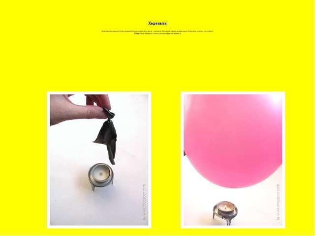 Ход опыта Возьмём два шарика. Один шарик без воды поднесём к свече – лопаетс...