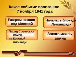 Какое событие произошло 7 ноября 1941 года Разгром немцев под Москвой Парад