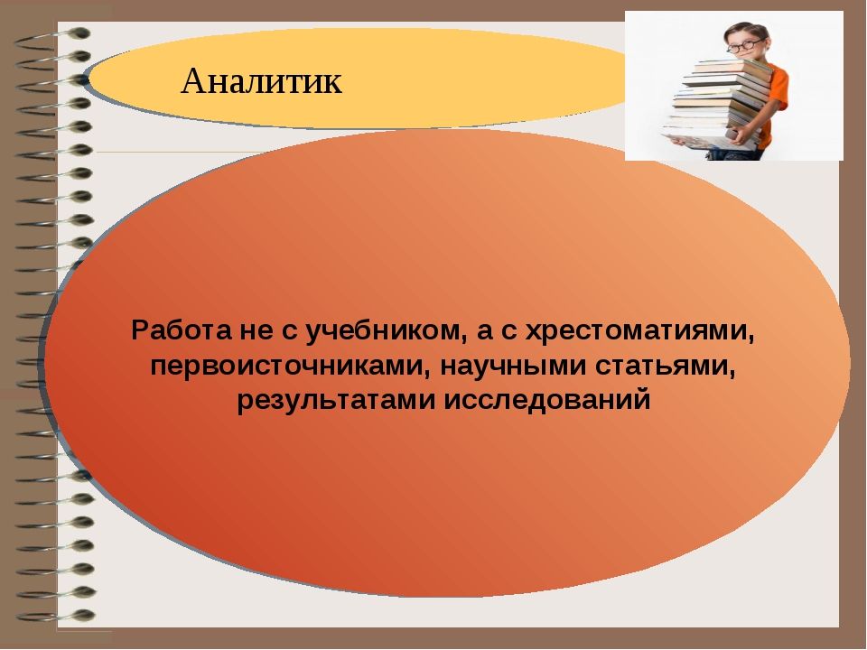 Аналитик Работа не с учебником, а с хрестоматиями, первоисточниками, научными...