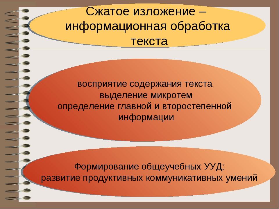 Сжатое изложение – информационная обработка текста Формирование общеучебных У...