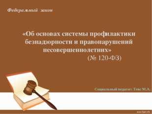 Федеральный закон «Об основах системы профилактики безнадзорности и правонару