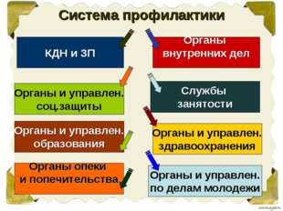 Система профилактики КДН и ЗП Органы и управлен. соц.защиты Органы и управлен