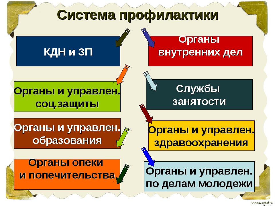 Система профилактики КДН и ЗП Органы и управлен. соц.защиты Органы и управлен...