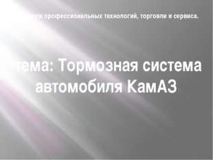 Техникум профессиональных технологий, торговли и сервиса. тема: Тормозная сис