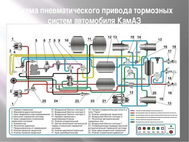Схема пневматического привода тормозных систем автомобиля КамАЗ