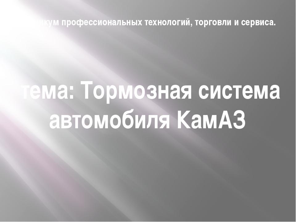Техникум профессиональных технологий, торговли и сервиса. тема: Тормозная сис...