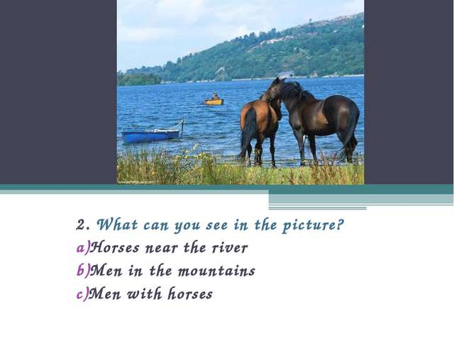 2. What can you see in the picture? Horses near the river Men in the mountain...