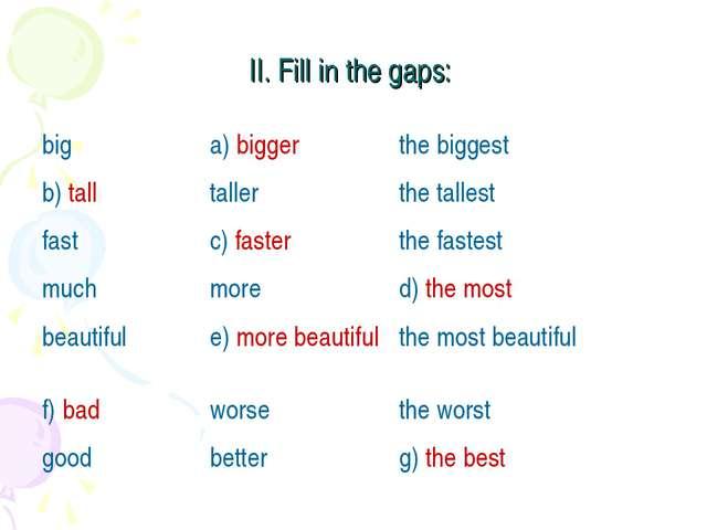 II. Fill in the gaps: