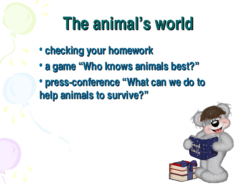 "The animal's world checking your homework a game ""Who knows animals best?"" pr..."