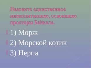 1) Морж 2) Морской котик 3) Нерпа