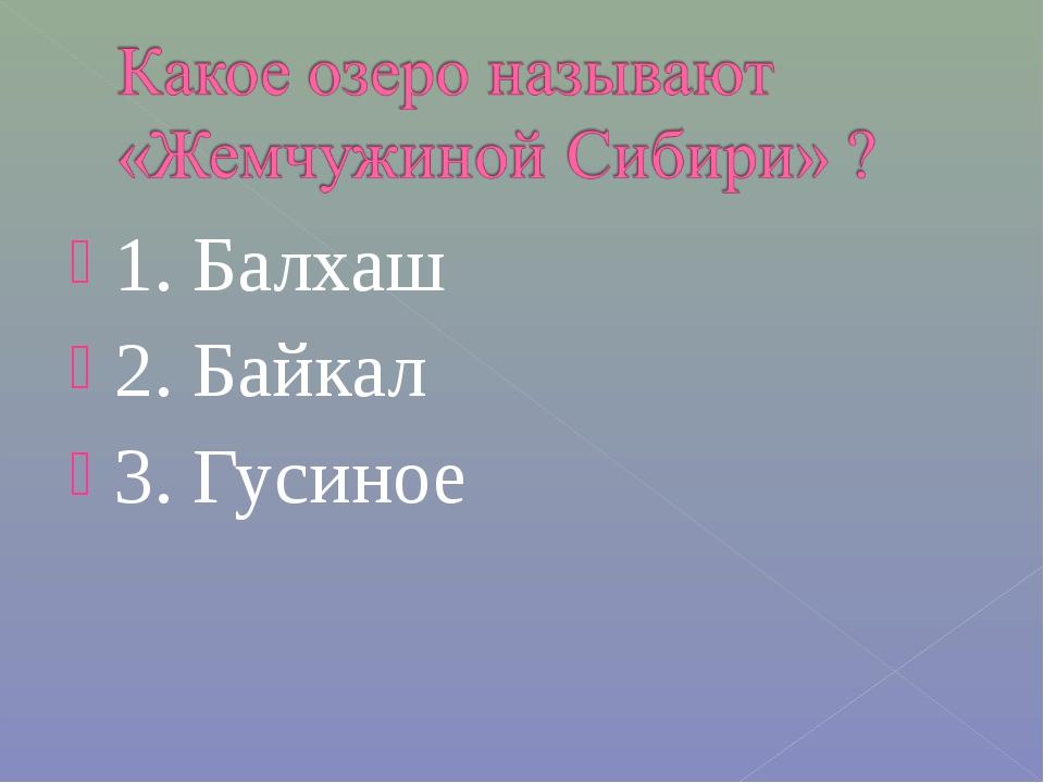 1. Балхаш 2. Байкал 3. Гусиное