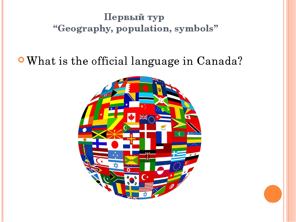 "Первый тур ""Geography, population, symbols"" What is the official language in..."