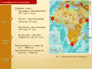 Крайние точки: На севере – мыс Бен-Сека (37° с.ш., 9° в.д.) На юге – мыс Игол