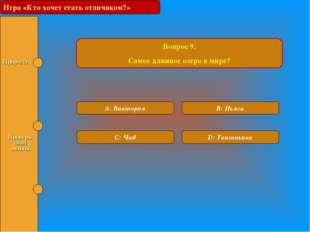 Игра «Кто хочет стать отличником?» Вопрос 9. Самое длинное озеро в мире? A: В