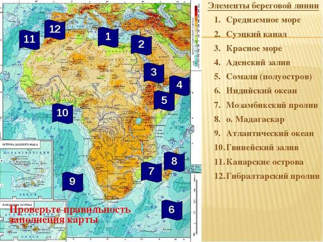 Элементы береговой линии Средиземное море Суэцкий канал Красное море Аденски...