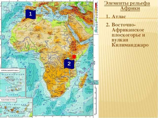 Элементы рельефа Африки Атлас Восточно-Африканское плоскогорье и вулкан Килим...