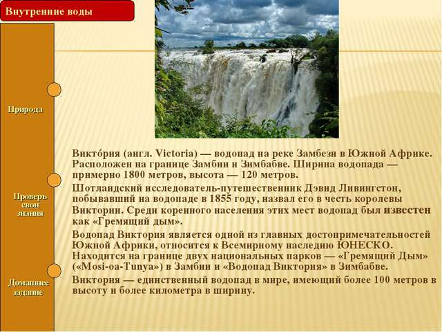 Природа Проверь свои знания Виктóрия (англ. Victoria) — водопад на реке Зам...