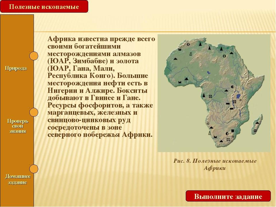 Рис. 8. Полезные ископаемые Африки Полезные ископаемые Выполните задание Прир...