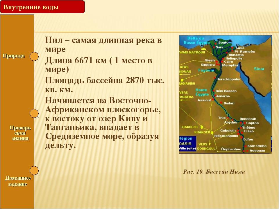 Рис. 10. Бассейн Нила Природа Проверь свои знания Нил – самая длинная река в...