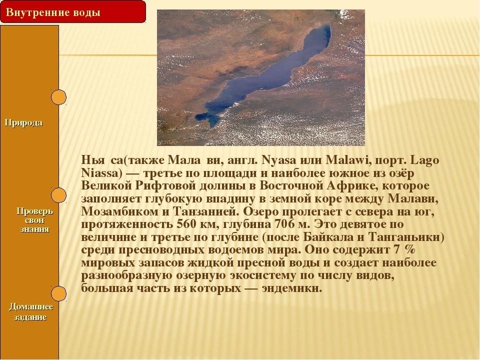 Природа Проверь свои знания Нья́са(также Мала́ви, англ. Nyasa или Malawi, п...
