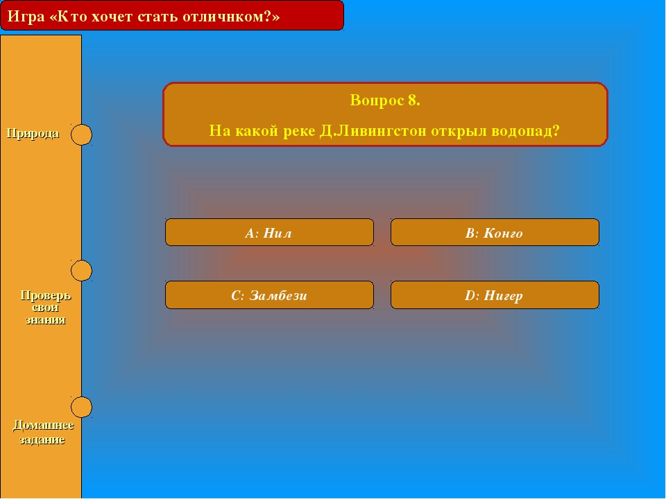 Игра «Кто хочет стать отличником?» Вопрос 8. На какой реке Д.Ливингстон откры...
