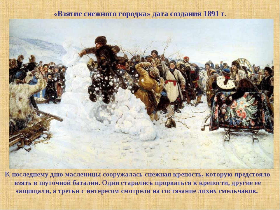 «Взятие снежного городка» дата создания 1891 г. К последнему дню масленицы со...